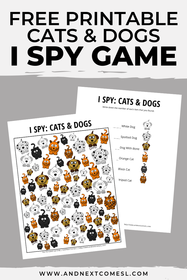 Cats & Dogs Themed I Spy Game {Free Printable for Kids} in