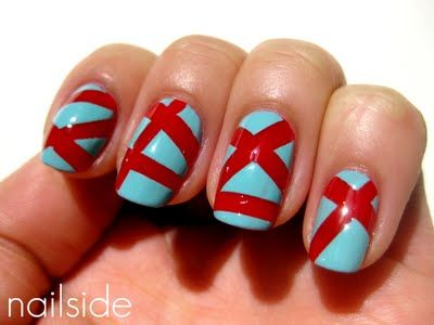 I love the look of the jelly and creme together, as well as the color combo. Tape manicure using 2-3 strips per nail.