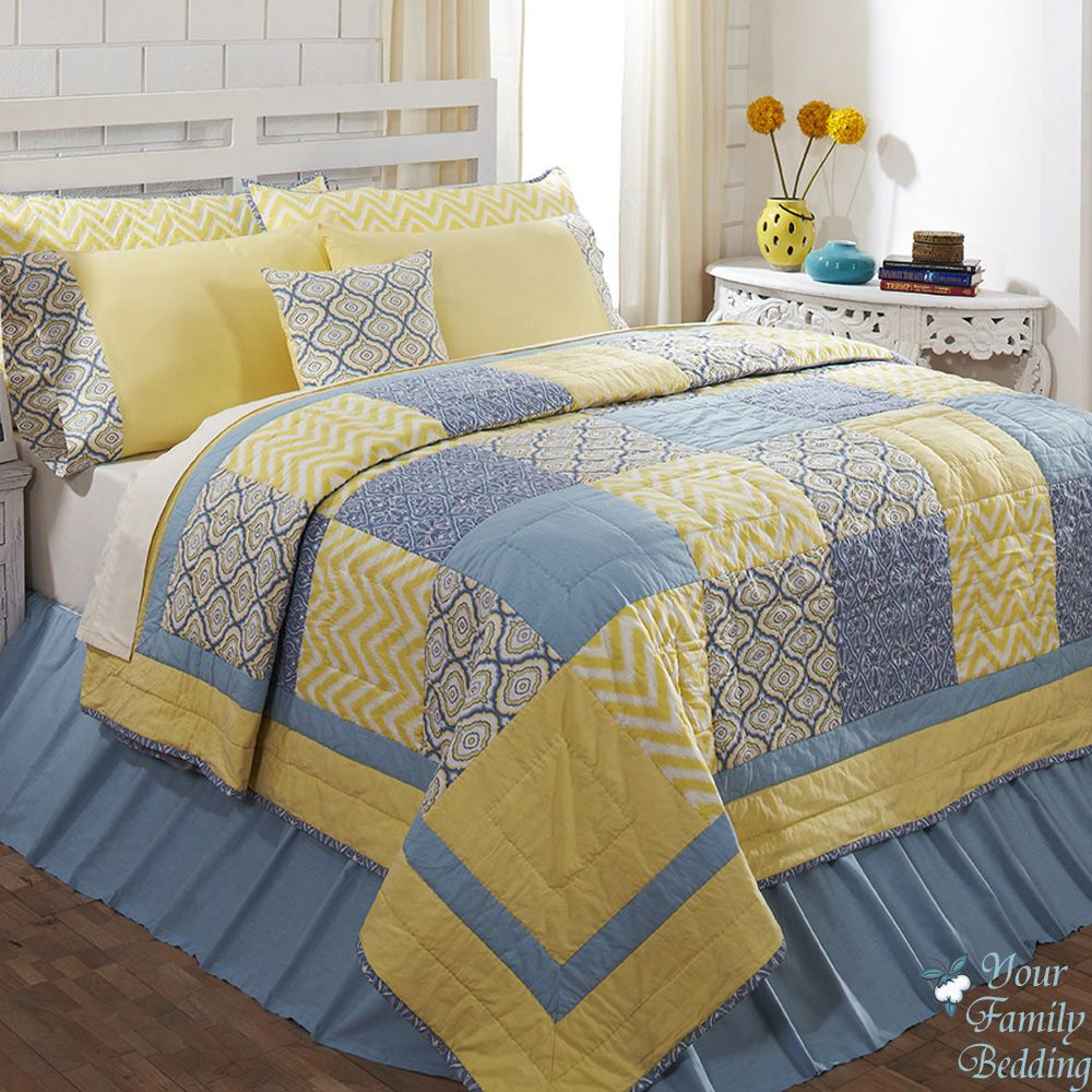 Blue And Yellow King Size Quilted Comforter With 7pc