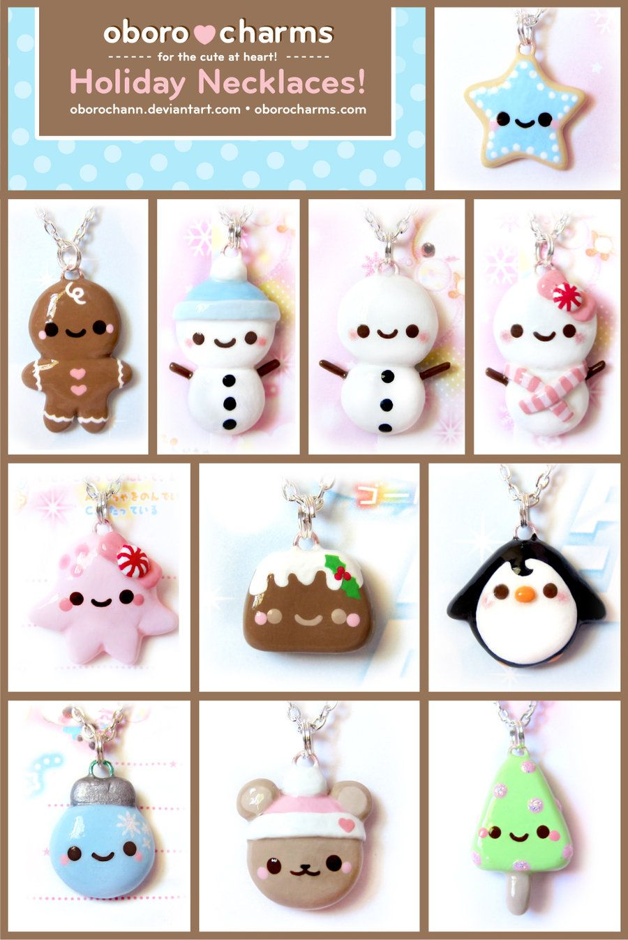 Holiday Necklaces By Oborochann On Deviantart Proyectos De Arcilla Polimérica Manualidades Arcilla De Navidad