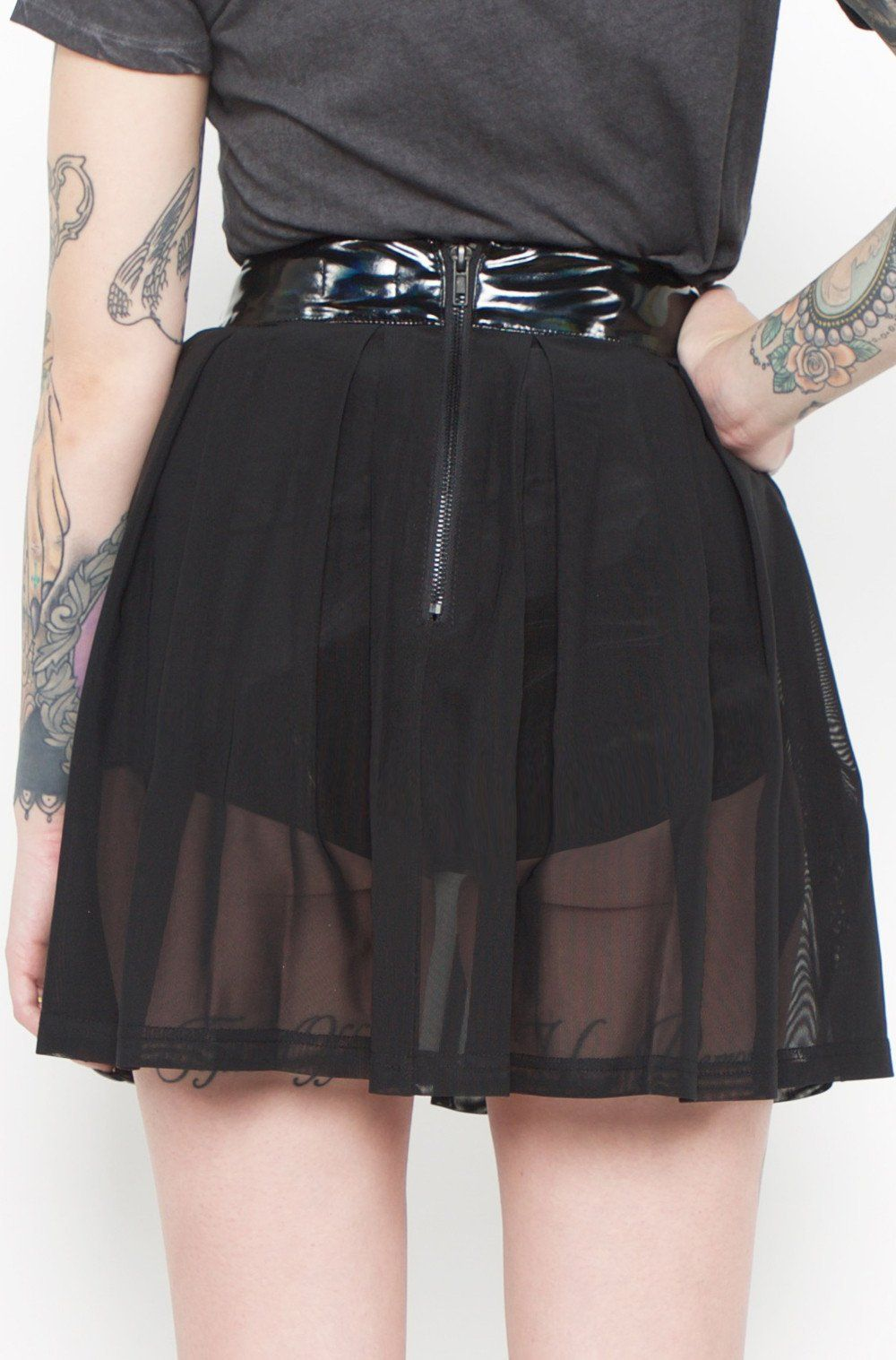 65ef04756e High Waisted Vinyl & Mesh Pleated Skirt Brand - 24 Hours Model is wearing X  Small. Made in China Waistband, 100% PU (92% Polyester 8% Spandex backing)  Skirt