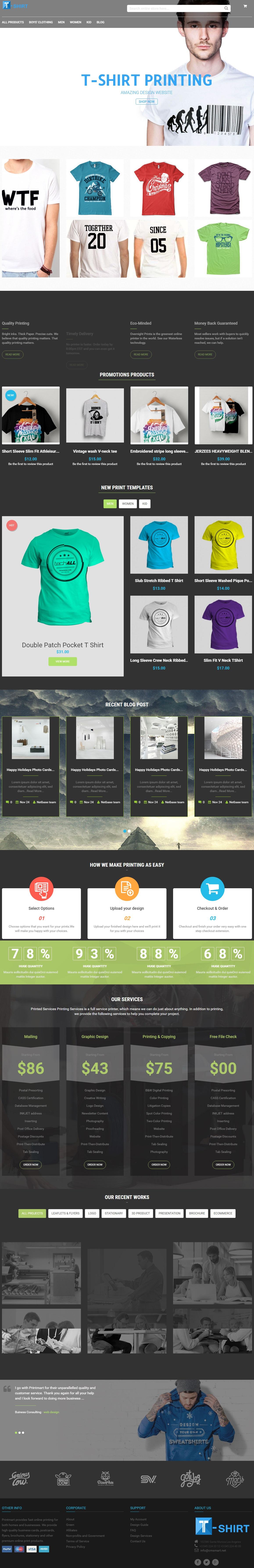 Magento Responsive Tshirt Printing Website Theme Sharing - T shirt printing website template