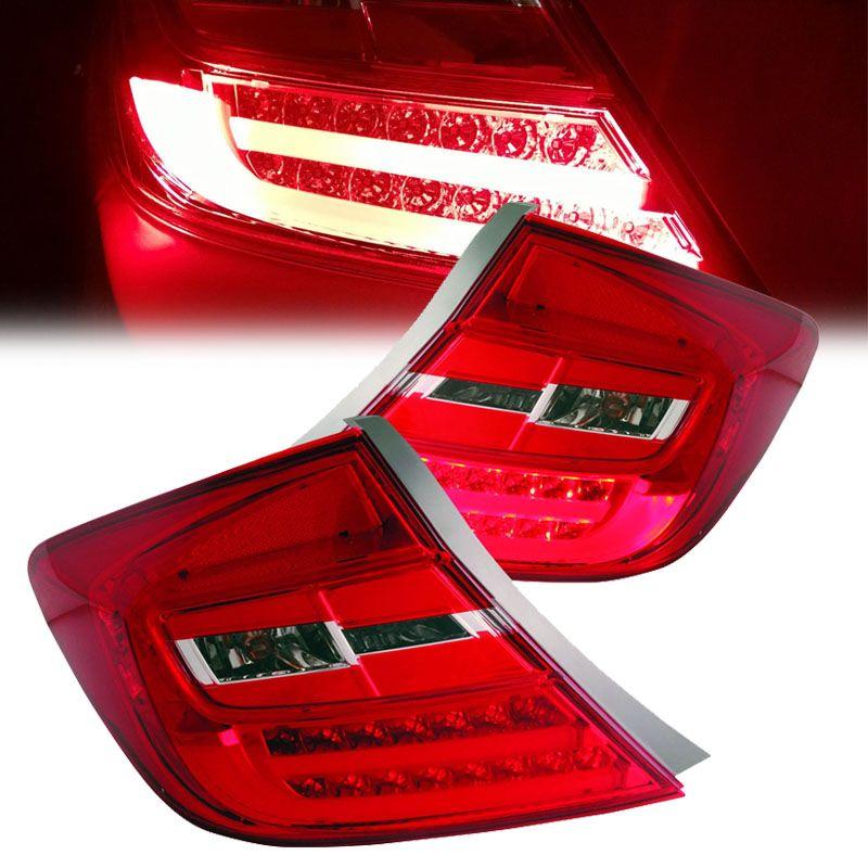 Cg 2012 Honda Civic Sedan 4 Door High Performance Led Tail Lights Red Clear Honda Civic Civic Sedan Honda Civic Sedan