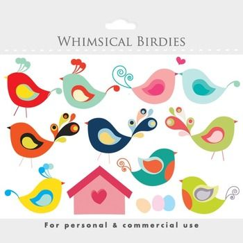Bird clipart - whimsical cute birdies, birdhouse, eggs, sw