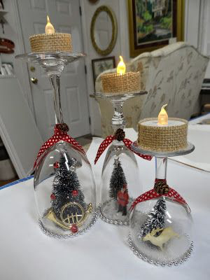 30 Cheap And Easy Homemade Wine Glasses Christmas Candle Holders