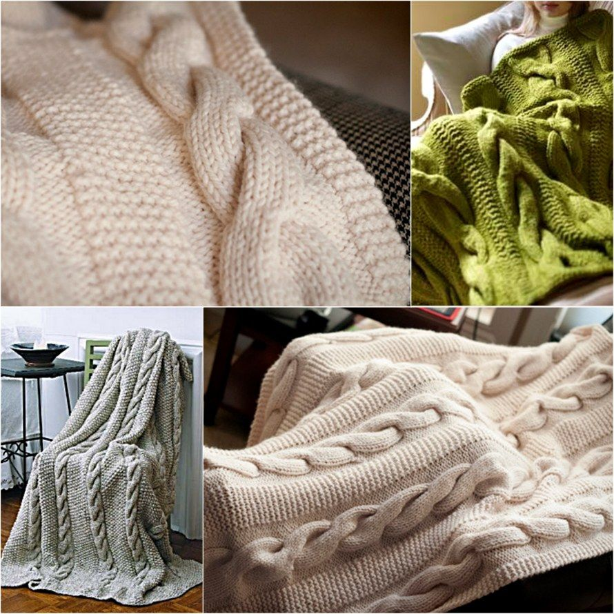 Chunky Cable Knit Throw Blanket Easy Video Tutorial | Cable knitting ...