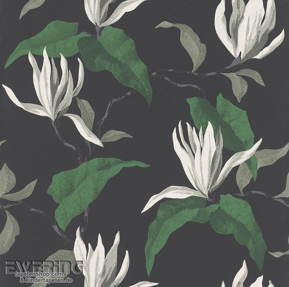 Rasch Sophie Charlotte 7 440447 Grün Schwarz Blüten Vliestapete