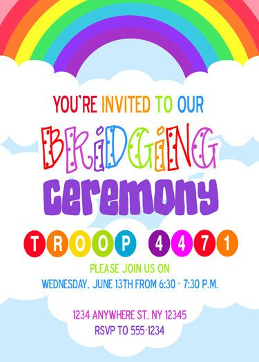Girl Scouts - Brownies Bridging Ceremony Invite Daisy girl scouts - fresh invitation meeting