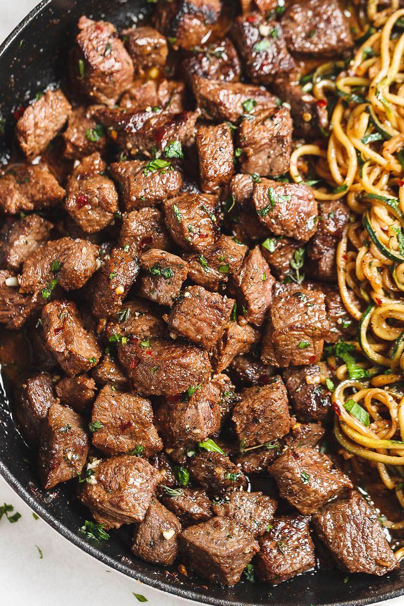 Garlic Butter Steak Bites with Lemon Zucchini Noodles #zucchininoodles
