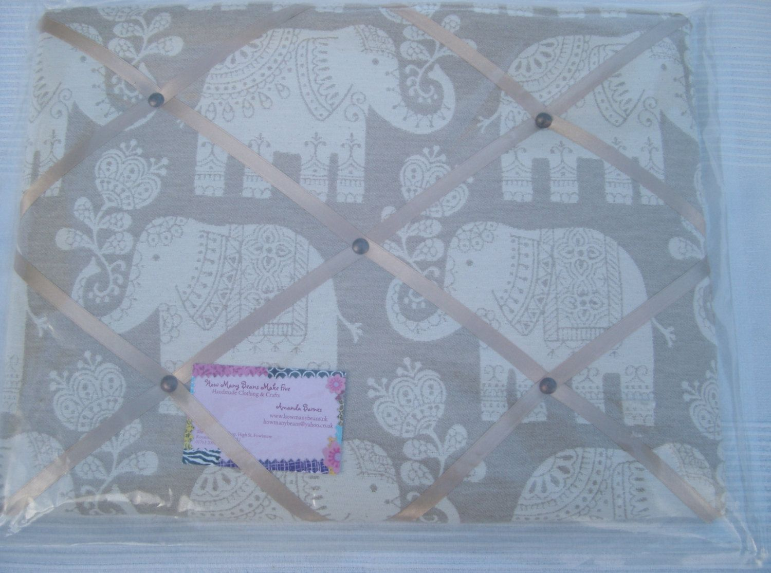 Padded Memo Board In Indian Elephant Design  Beige  Cream