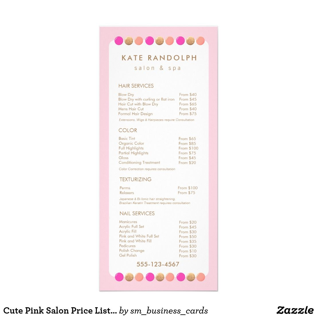 Cute Pink Salon Price List Service Menu  Fashion And Beauty