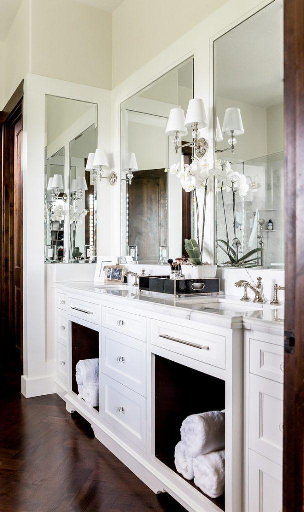 White Dual Bath Vanity With Dark Wood Herringbone Floor