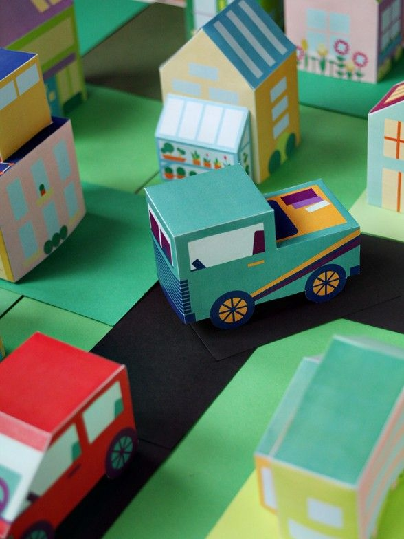 Free Printable download - paper town with houses, cars, and people! 18 downloads and more to come. via SmallforBig.com