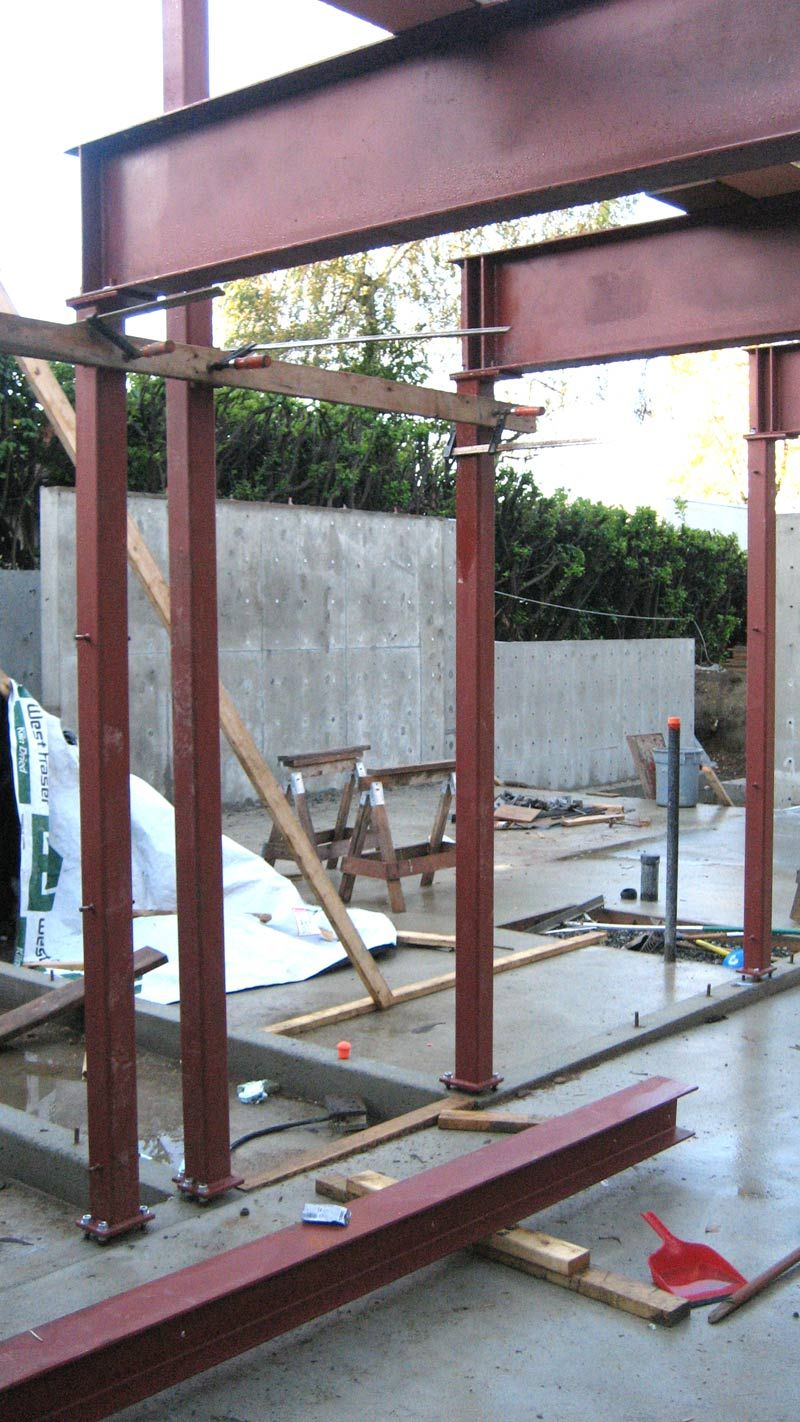 steel beam and column frame connected to concrete