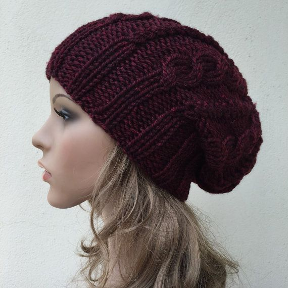 5857d9c5cca Hand knit hat Oversized Chunky Wool Hat slouchy hat by MaxMelody ...