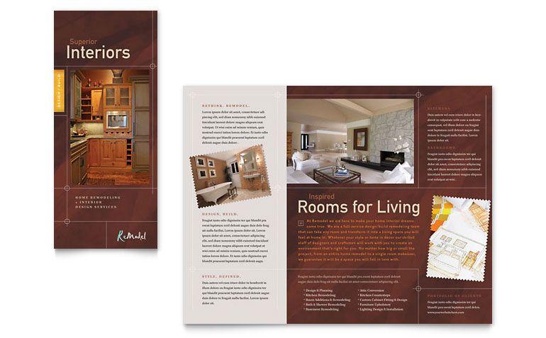 Home Remodeling - Tri Fold Brochure Template Design Bold - brochures templates word