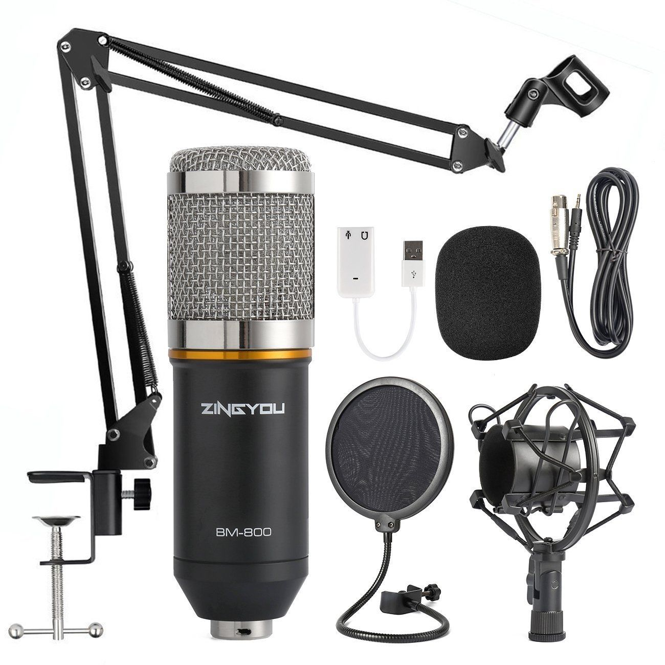 Bm800 Professional Condenser Microphone Pro Audio Studio Sound Recording Brocasting Arm Stand Pop Filter Microphone Studio Microphone Microphone Set