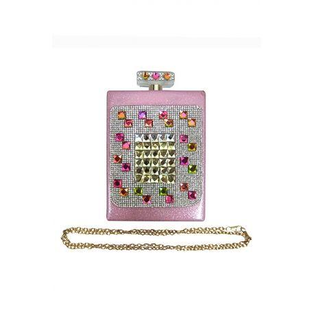 Perfume Bottle Look Clutch Pink - Wholesale Fashion Purses