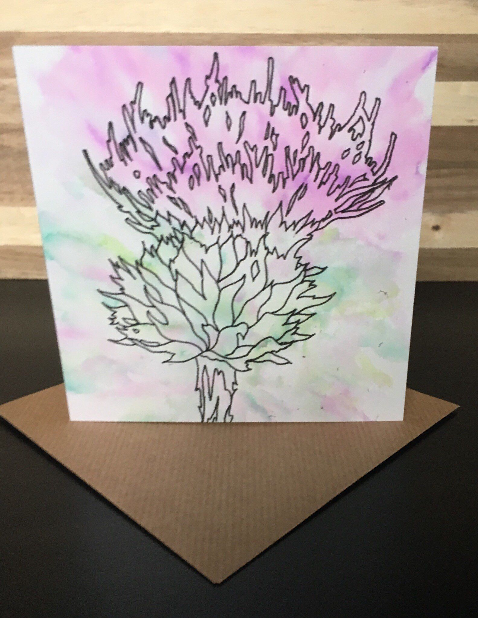 Pink Thistle Greeting Card Blank Cards Sheep Cards Greeting Cards