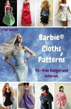 Barbie Clothes Patterns: 45+ Free Designs & Tutorials #clothpatterns