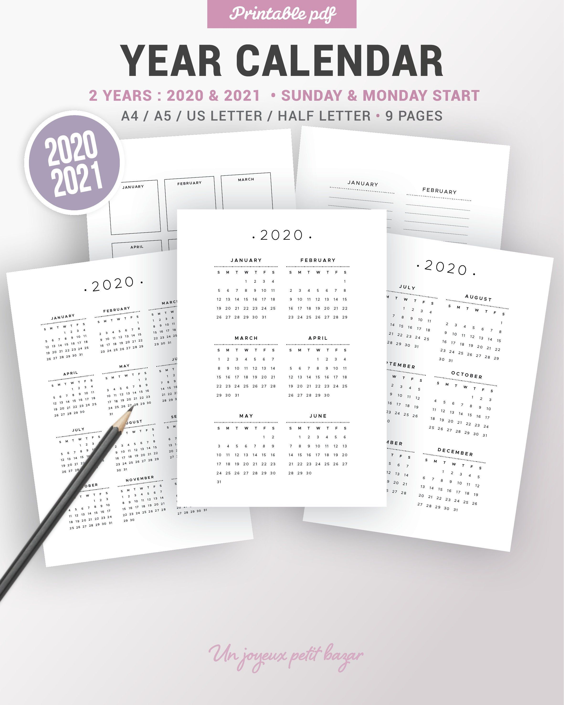 2020 2021 Yearly Calendar Printable Planner Insert Dated Agenda Yearly Notes Sunday And Monday Start Year At A Glance Year Overview Planner Inserts Printable Printable Planner Yearly Calendar