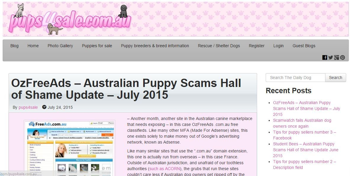 Another month, another site in the Australian canine marketplace