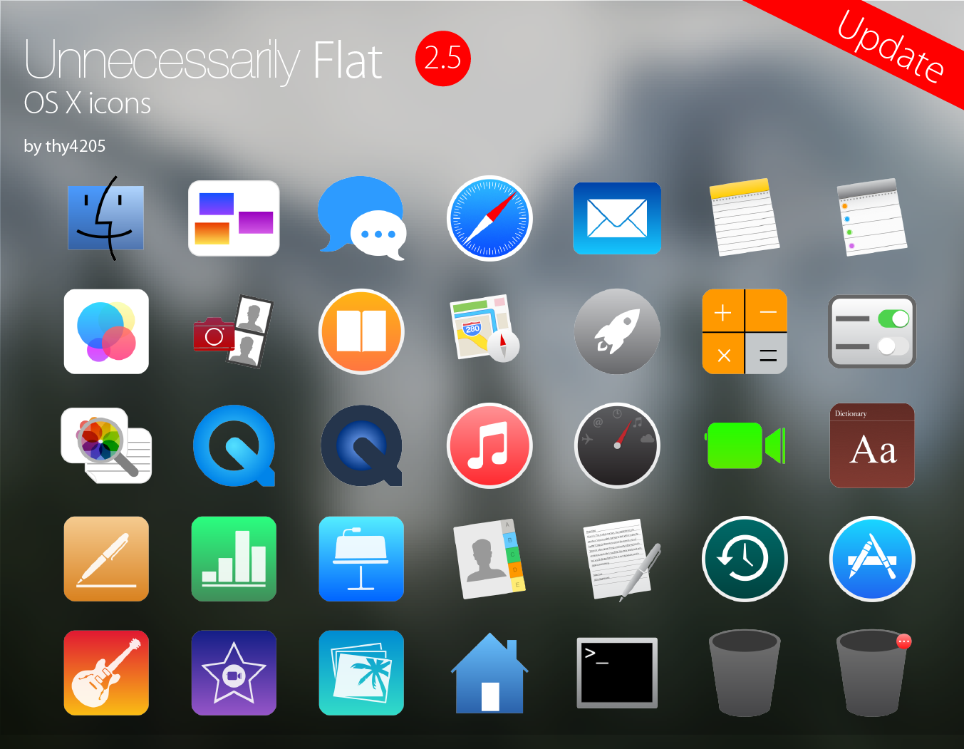 Unnecessarily Flat v2.5 icon set