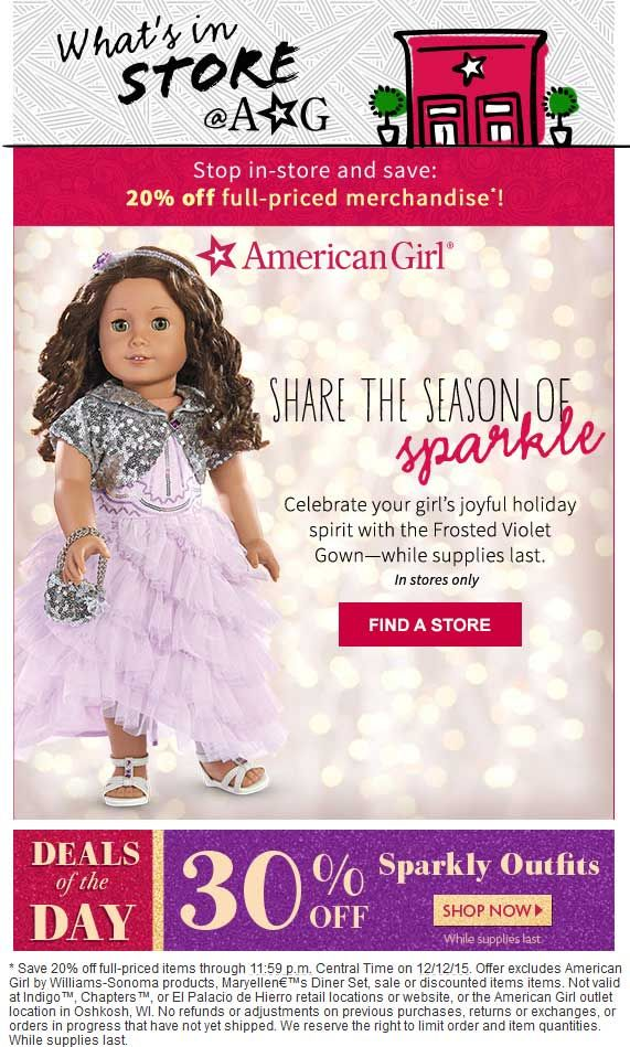 image relating to American Girl Printable Coupon named Pinned December 3rd: 20% off at American #Woman doll outlets