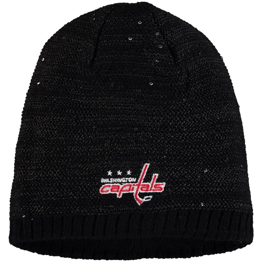 Women s Washington Capitals adidas Black Sequin Knit Beanie 768b1b731