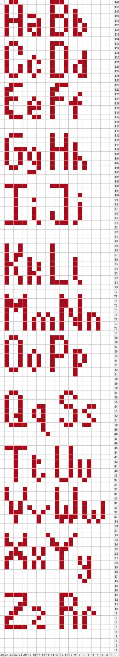 Alphabet for Knitting My Favorite Things Scarf thing ...