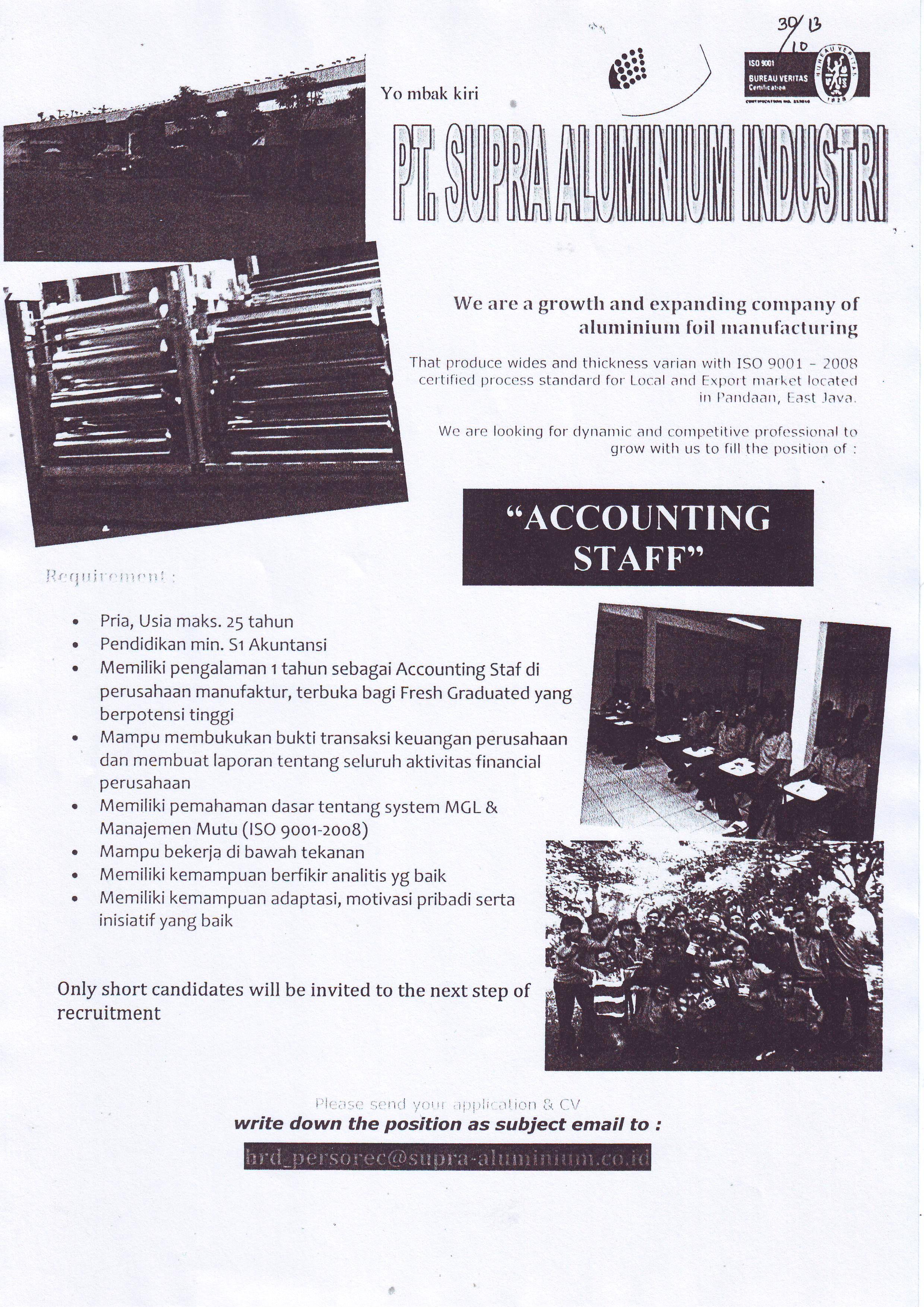 Lowongan kerja accounting staff pt supra alumunium industri yuk lowongan kerja accounting staff pt supra alumunium industri yuk lihat fashion selebriti korea hari ini stopboris Images