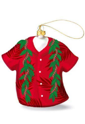 Island Heritage Lei Aloha Shirt Collectible Glass Ornament ...