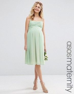 b27d4a04b1fee ASOS Maternity WEDDING Ruched Bandeau Midi Dress | mint green ...