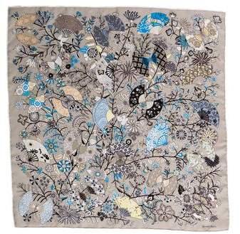 Hermes Fleurs et Papillons de Tissus Silk Pocket Square w  Tags ... 2e618ca28b4