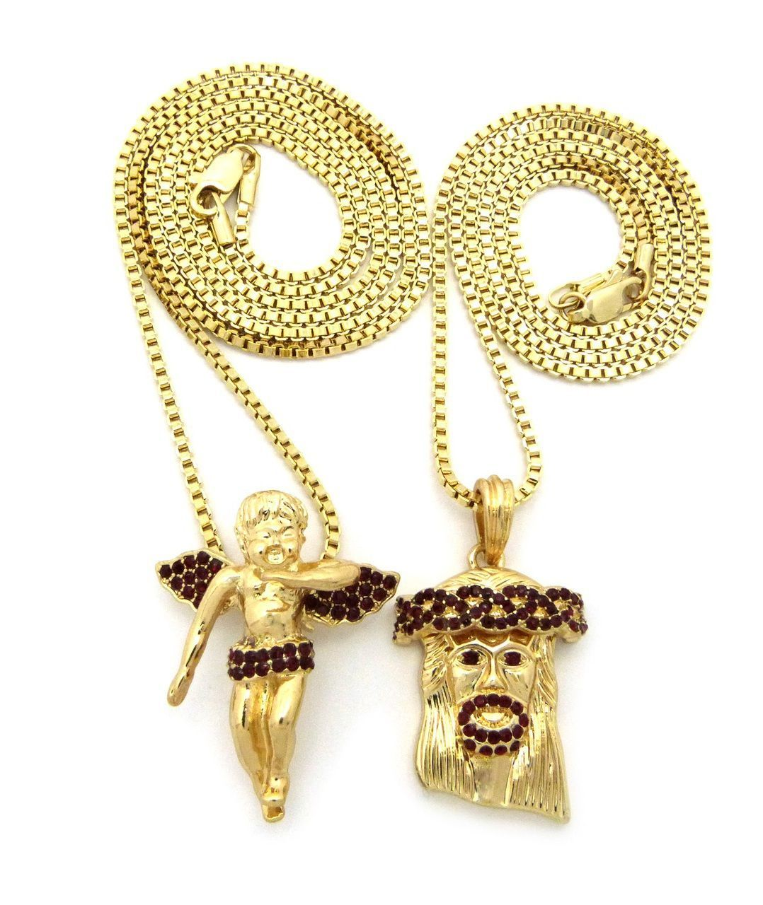 Hip hop jesus gold winged cherub pendant chains set ruby bling