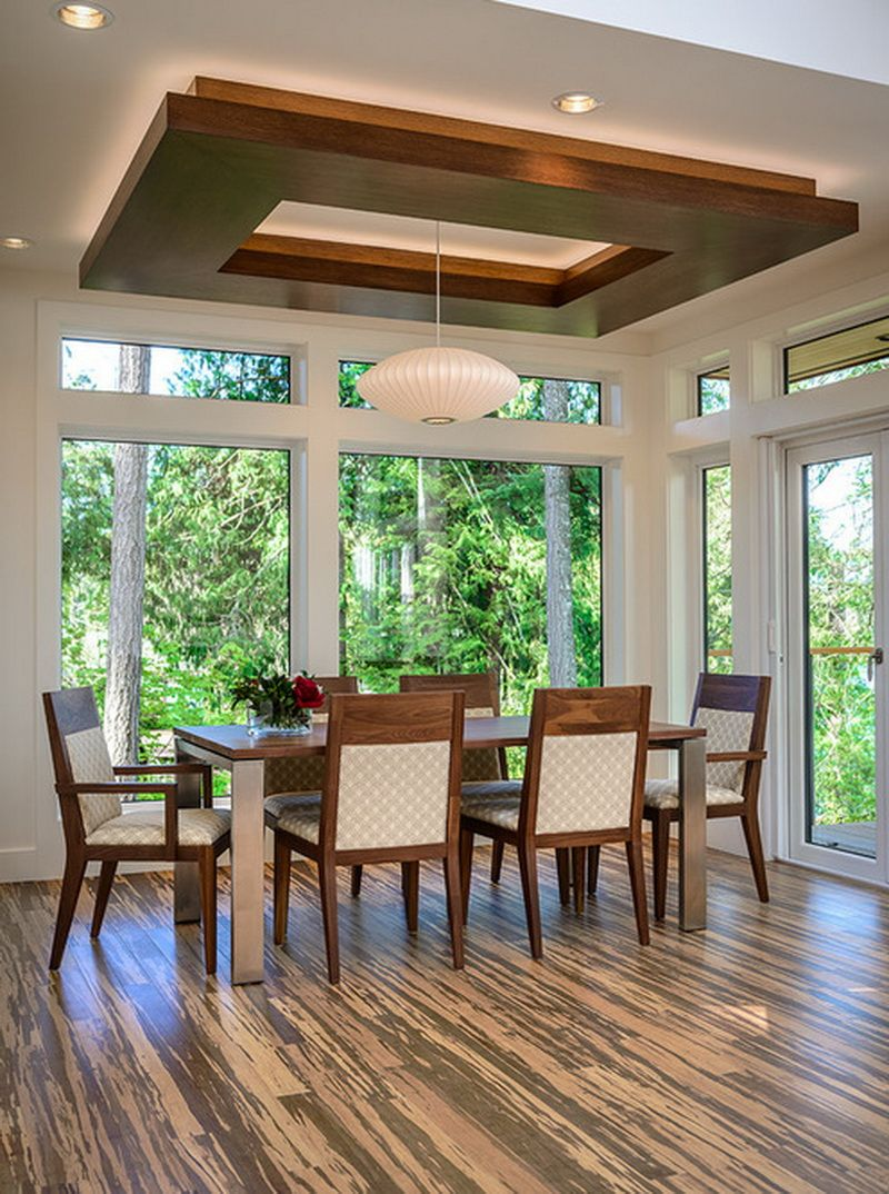 Dining Room Ceiling Ideas Wood And Lights | Ceiling design ...