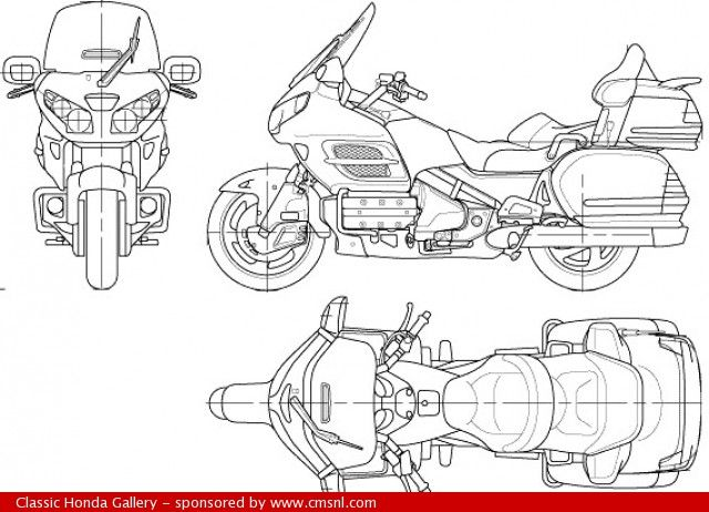 2006 Honda Gl1800 Goldwing Technical Drawing Plan Goldwing Goldwing Motorcycles Bike Drawing