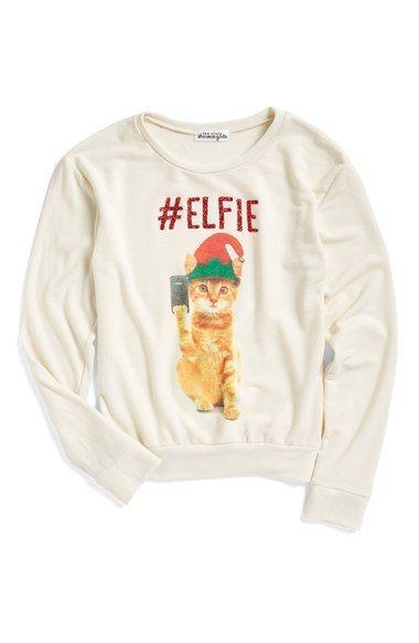 Main Image - Ten Sixty Sherman #Elfie Graphic Sweatshirt (Little Girls)
