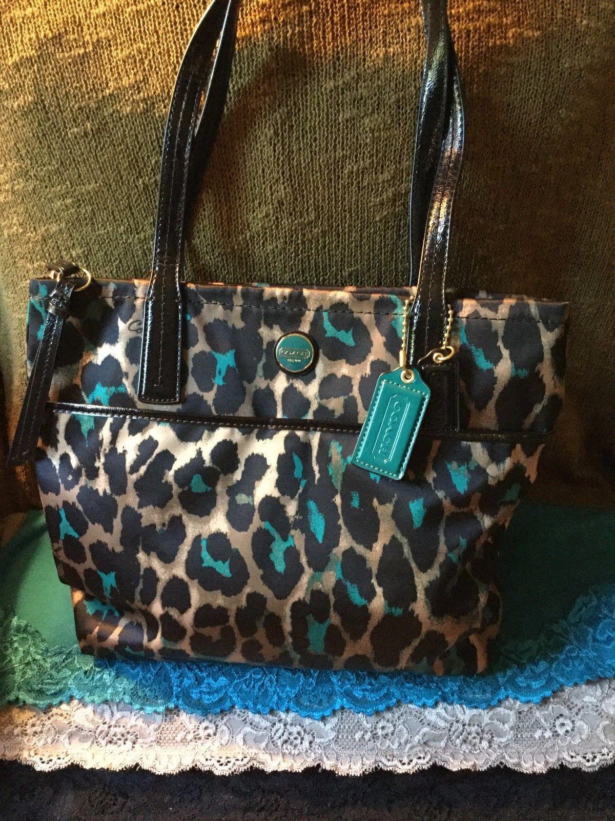 Coach Teal, Black & Brown Multi Leopard Print Cloth Zip Tote & Shopper