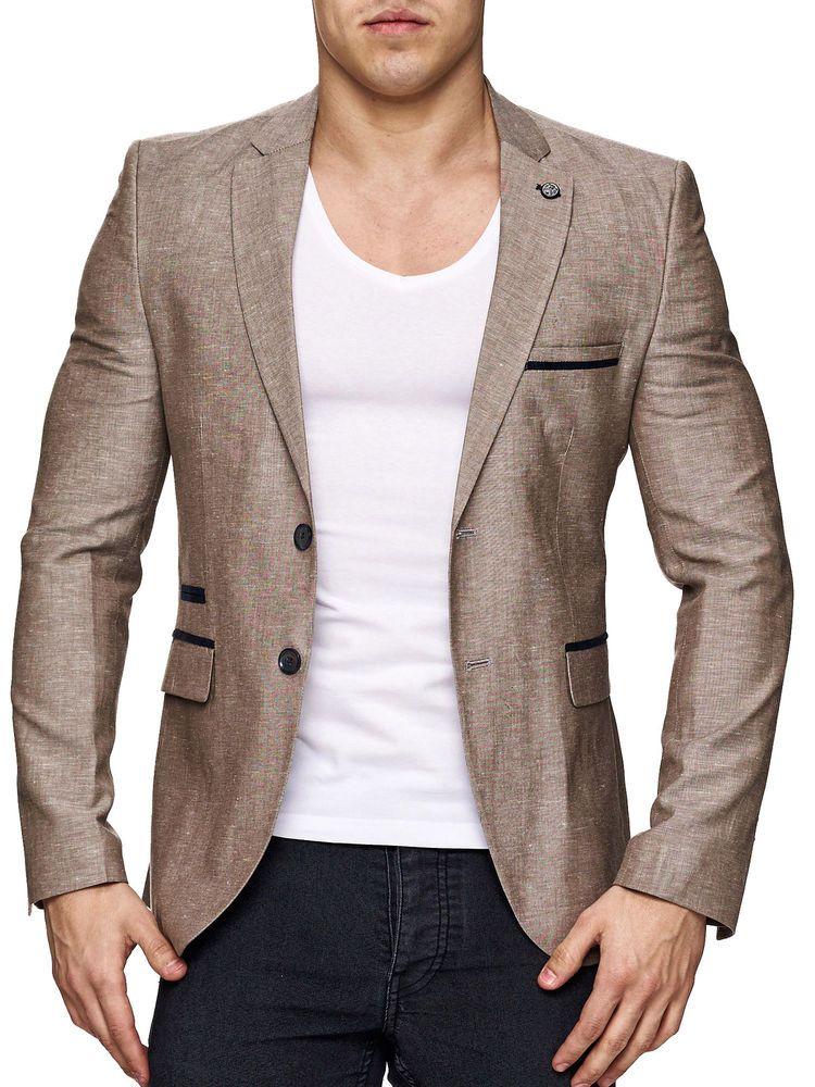 Herrensakko Sakko Blazer Slim Fit Elegant Casual Leinensakko Optik Beige Anzug Herren Sakko Herren Sakko