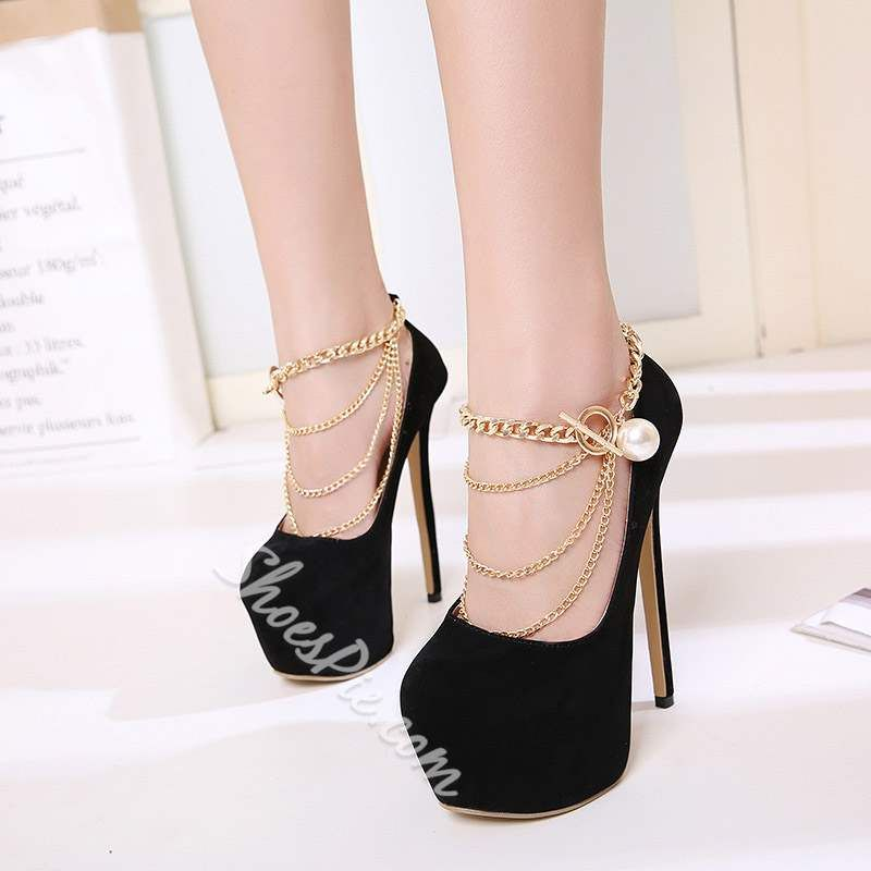 6d30632562f Black Chain Buckle Platform Stiletto Heels | Wedding | Stiletto ...