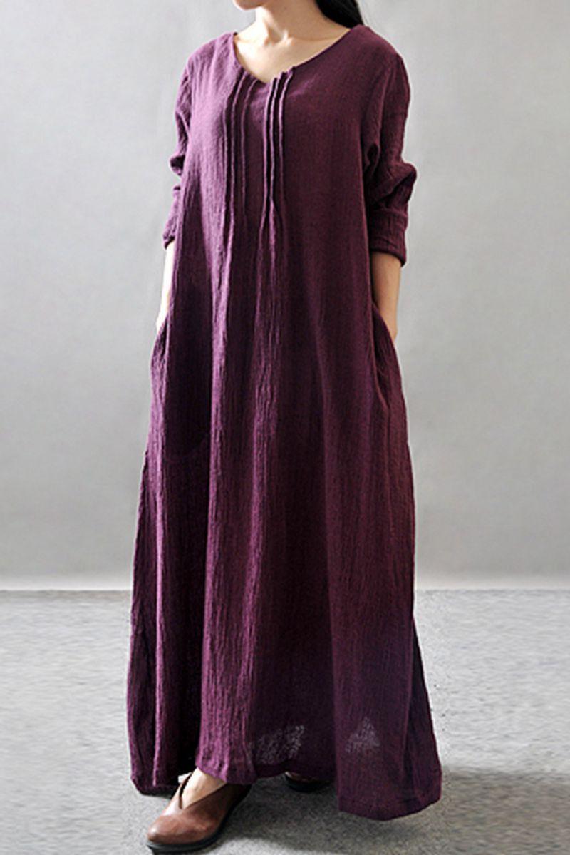 0e0f3901b7ae Purple Black Orange Maxi Linen Plus Size Women Dresses Q3102A