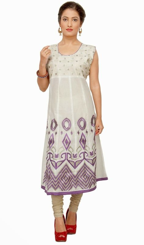 Revive your style dressed in this purple and off white cotton shade kurti. The stunning lace, patch and resham work a considerable feature of this attire. #LatestClassicalKurtis