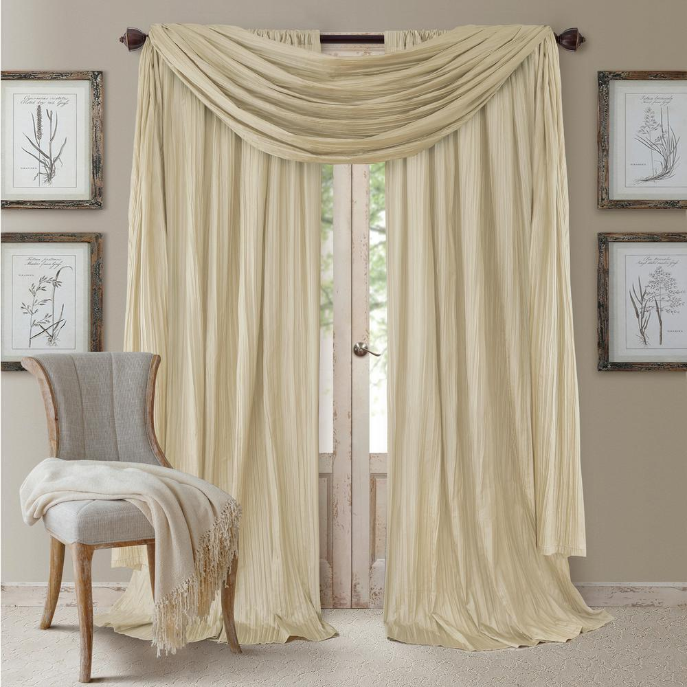 Elrene Athena Faux Silk Window Curtain And Scarf Set 026865857177