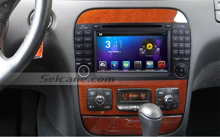 Android 4.2 1998-2005 Mercedes-Benz S Class W220 aftermarket car stereo navigation system after installation