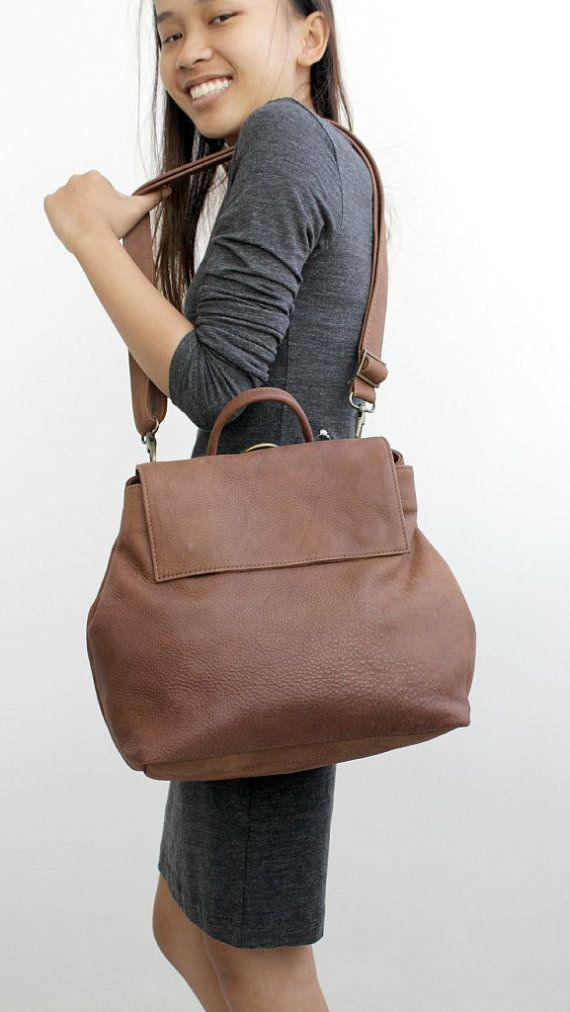 SPRING SALE Convertible brown leather backpack by BarLeather