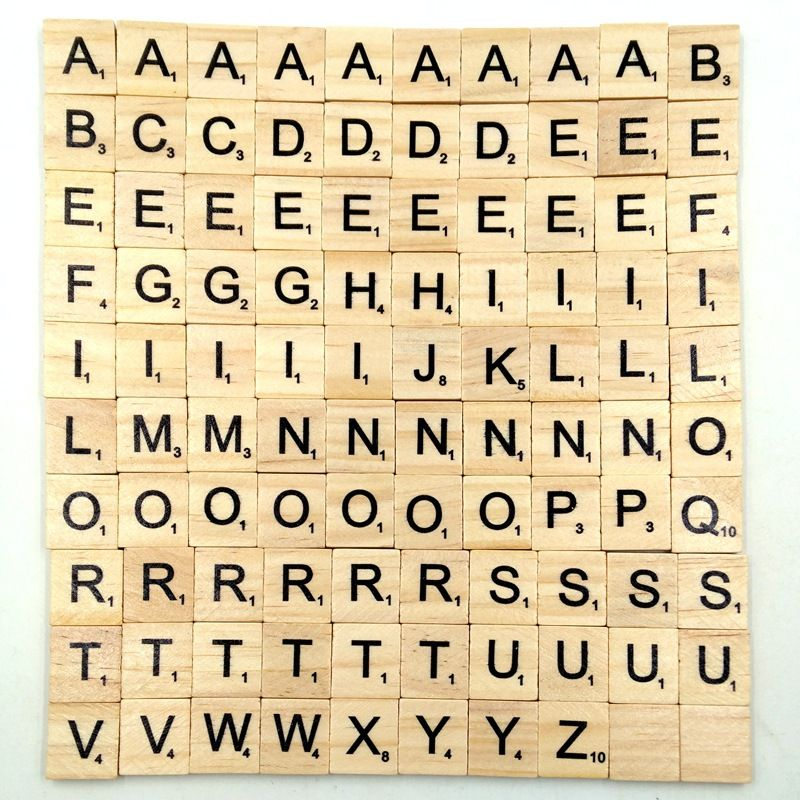 100pcs Set Wooden Tiles With Letters Or Numbers Scrabble Letters Wooden Alphabet Letters Wooden Scrabble Tiles