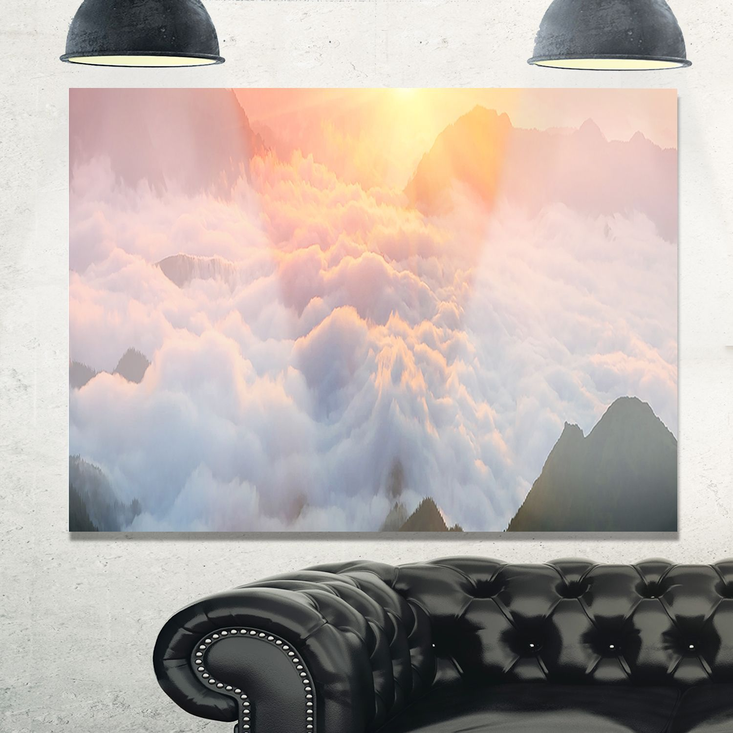 Heavy Fog in Mountains Panorama - Contemporary Landscape Glossy Metal Wall Art