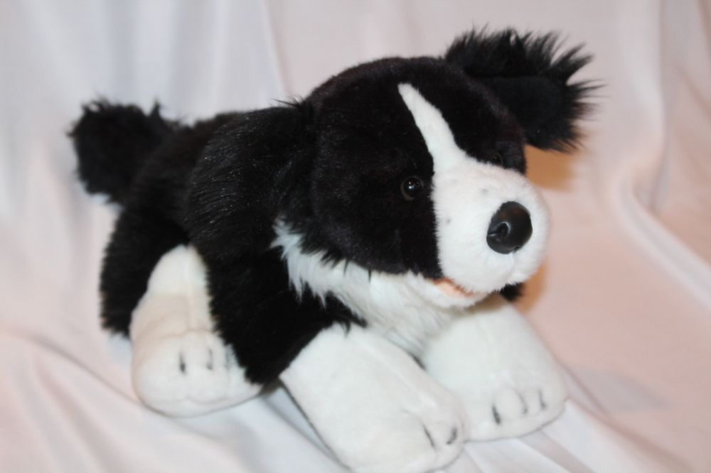 Build-A-Bear Border Collie Black White Dog 18
