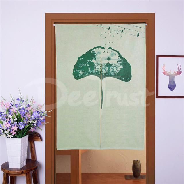 Peacock Linen Door Short Curtains for Living Room or Kitchen (Home